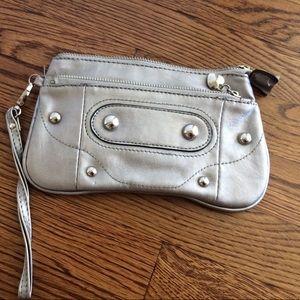 Handbags - Faux leather silver wristlet wallet - Free w/ bund