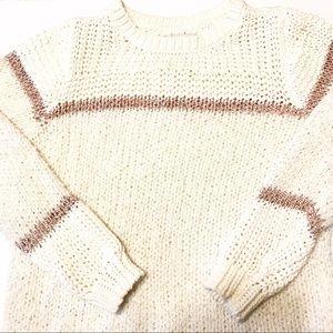 LOFT Cream Sweater with Subtle Striped Detail