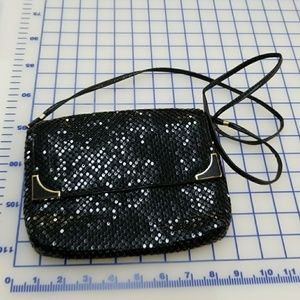 Handbags - Vintage Black sequin clutch with strap