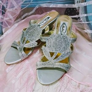 Pretty Rhinestone Silver and Gold Sandals