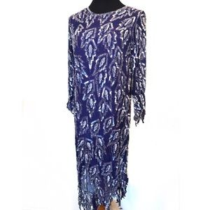 Gorgeous purple Beaded dress with drippy edges