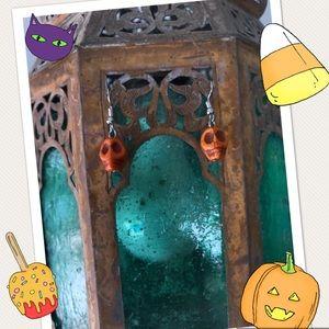 Jewelry - Halloween 🎃 Orange Turquoise Skull Earrings