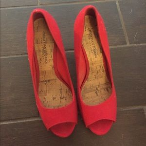 Shoes - Red peep toe heels