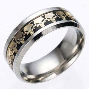 Other - Titanium Steel SKULL Black-Gold Ring size 10 mens