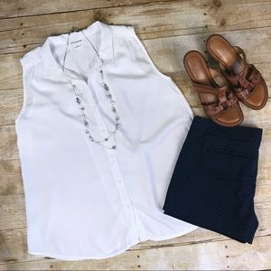 Beachlunchlounge White Button-Up Tank - S/P