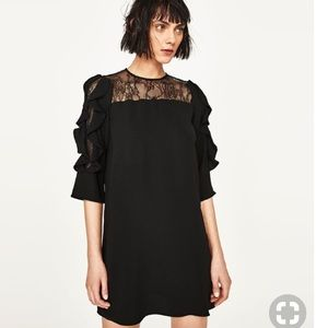 Zara Mini Dress with Ruffle Sleeves and Lace Inset