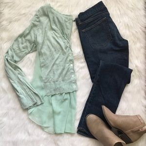Mint Green Button Up High Low Top