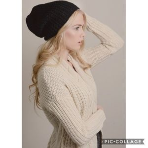 Accessories - Long Cable Knit Beanie
