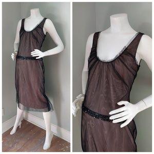 VERA WANG Mesh Tulle Nude Deco Sequin Dress S M