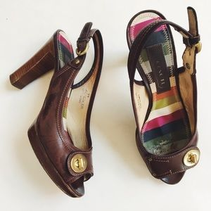 • coach • keira burnished chestnut leather pumps