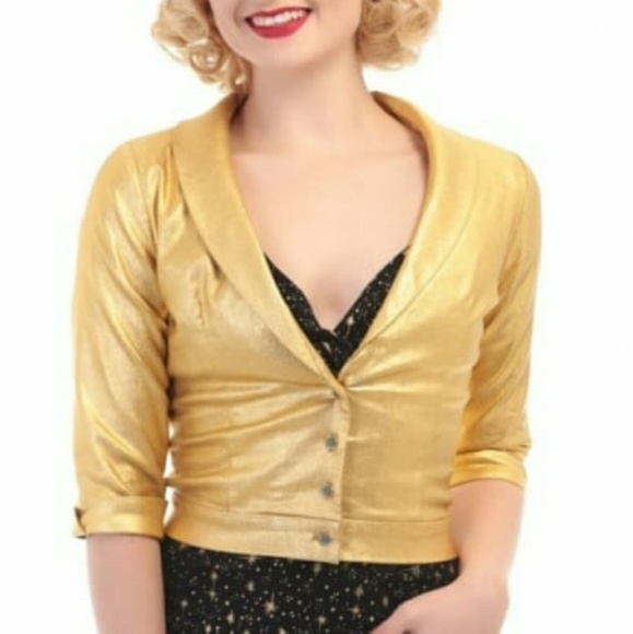 e7a53c8f4d7 Collectif Marli Lame Bolero Jacket in Gold