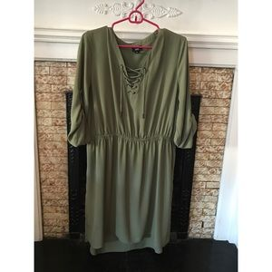 Target Olive Green Lace Up Dress