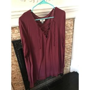 Wine Color Old Navy Lace Up Top! AWESOME FOR FALL!