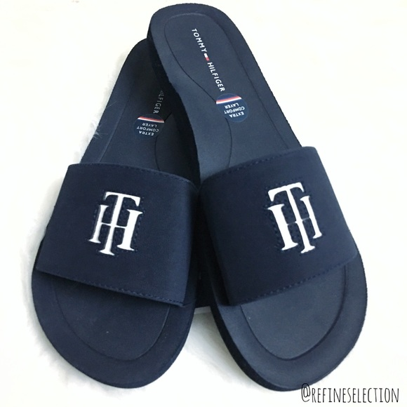 a72ffa05c Tommy Hilfiger Mistee Blue White Slides Sandals