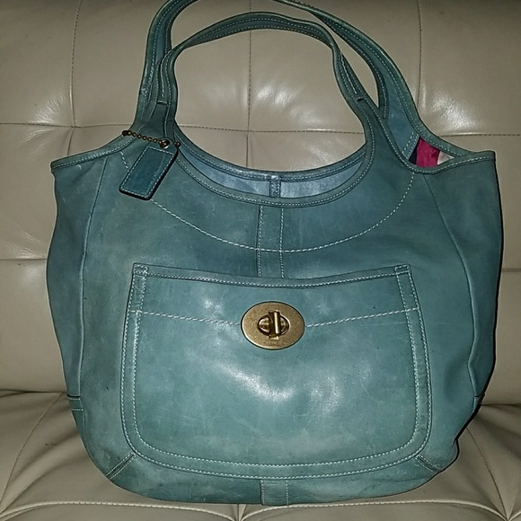 c3855710298 Coach Bags   Xl Turquoise Leather Ergo Legacy Tote 10744   Poshmark