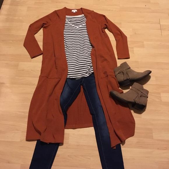 40% off LuLaRoe Sweaters - LuLaRoe Sarah Cardigan Solid Rust/Burnt ...