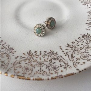 Anthropologie gold and teal round stud earrings