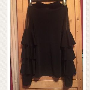 NWOT- Black long sleeved sheer and rufffle Blouse
