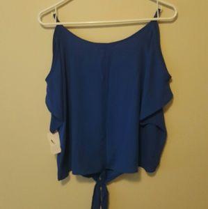 Nwt Material Girl Blue Cold shoulder crop top Med