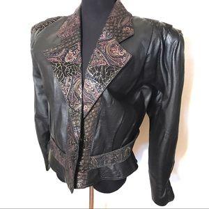 Leather 80's bomber motorcycle jacket