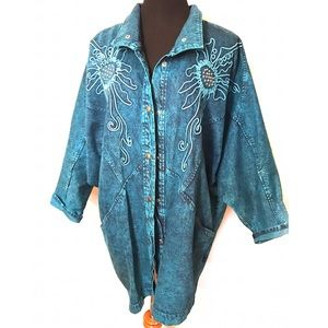 Vintage 80's turquoise acid washed Jean jacket