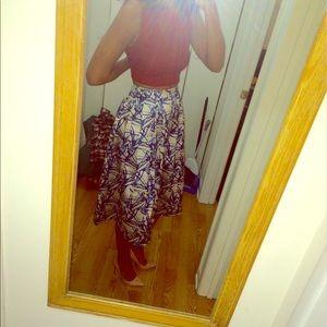Floral silky Midi Skirt