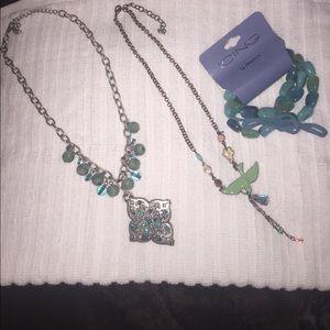 Jewelry - Pretty in Blues.  2 necklaces + 1 bracelet