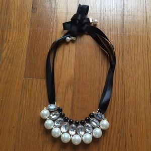 Pearl & Crystal Satin Statement Necklace
