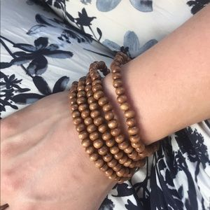 Stack of 5 Lightweight Wooden Elastic  Bracelets