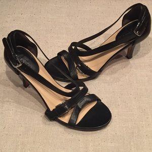 Cole Haan Black Leather Sandal Heels