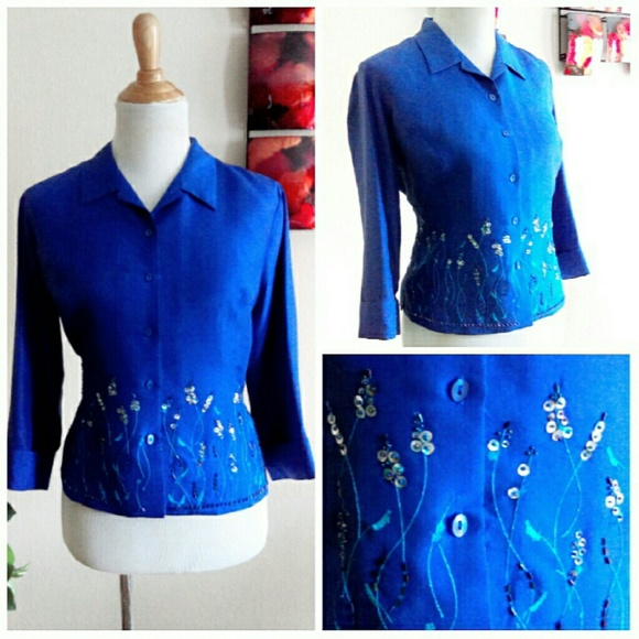 ICE Jackets & Blazers - Silk Handbeaded Top