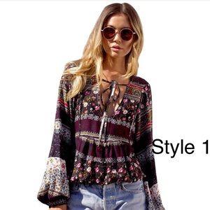 Tops - Boho Floral Vintage Long Sleeve V-Neck Blouse  NWT