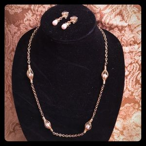 Jewelry - Gold four pearl Necklace, Earrings matching set