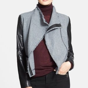 Vince Women's Boucle Jacket with Scuba Leather
