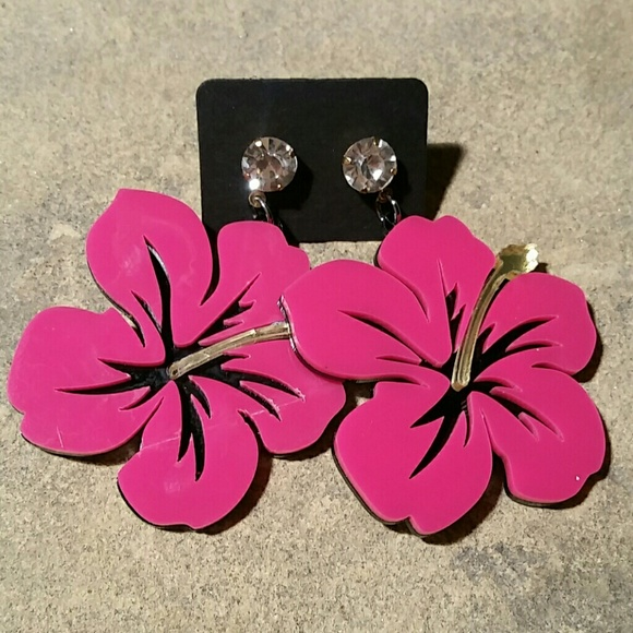Jewelry New Big Hot Pink Hibiscus Flower Dangle Earrings Poshmark
