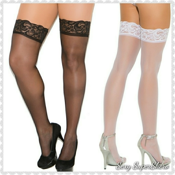 761ed6b1157 Plus Size Lace Top Sheer Thigh Highs  thi-hi s