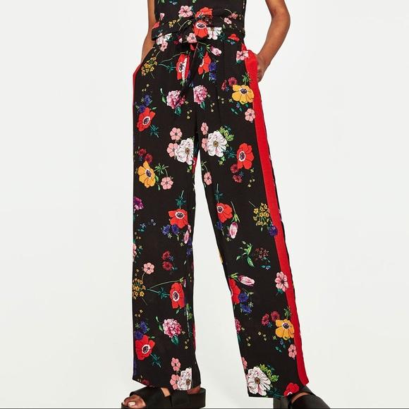 308efca1 Zara Pants | Dark Floral Print Trousers W Red Side Band | Poshmark