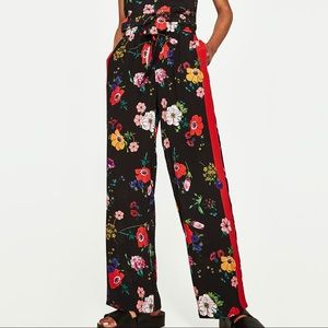 Zara dark floral print trousers w/ red side band