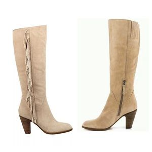 GUESS MIGAL FRINGED KNEE HIGH SUEDE BOOTS