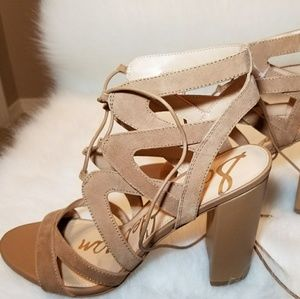 81121c917cf00 Sam Edelman Shoes - Sam Edelman Suede Strappy Sandals Heels Sz10 Camel