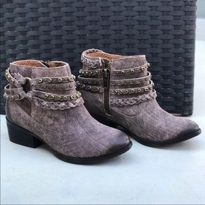 Burnished Distressed Harness Ankle Boot