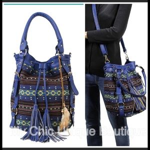 Handbags - Blue Boho Tassel Woven Bucket Bag