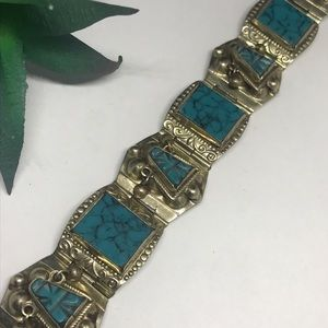 Vintage Sterling silver Mexico turquoise  bracelet