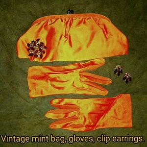 SALE!!  vintage acid orange clutch, brooch, glove