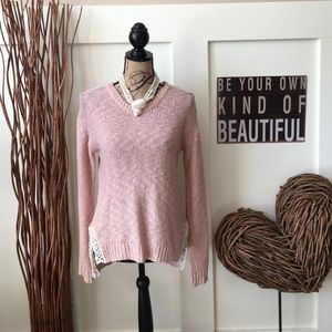 Pretty peach high low sweater w/lace accents