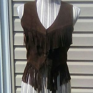 Jackets & Blazers - Vintage Brown Leather Fringed Vest. Sz Small