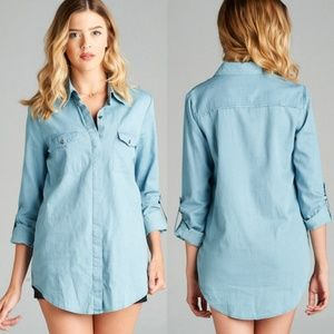 Tops - Cotton Chambray Tunic length top boyfriend fit