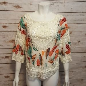 Tops - Boho crochet & feather print layering top/ poncho