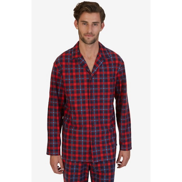 Nautical Men s Classic red blue Plaid Pajama set a2b679a45