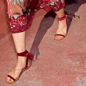 Valentino Velvet Lace-Up Flat Sandal, Color Ruby
